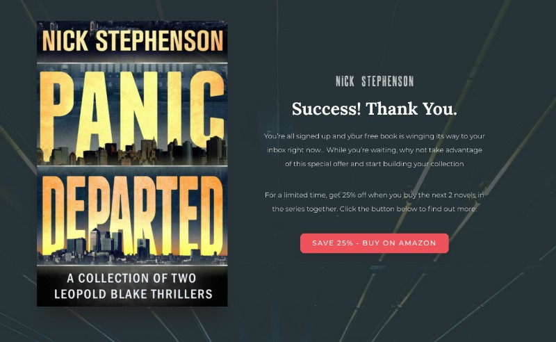 The 7 essential elements of an awesome author website your first its a very similar design to a regular landing page but instead of asking for a sign up its offering people 25 off when they order the next 2 books in fandeluxe Choice Image